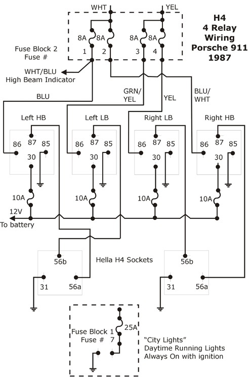 h4 headlight relay wiring diagram