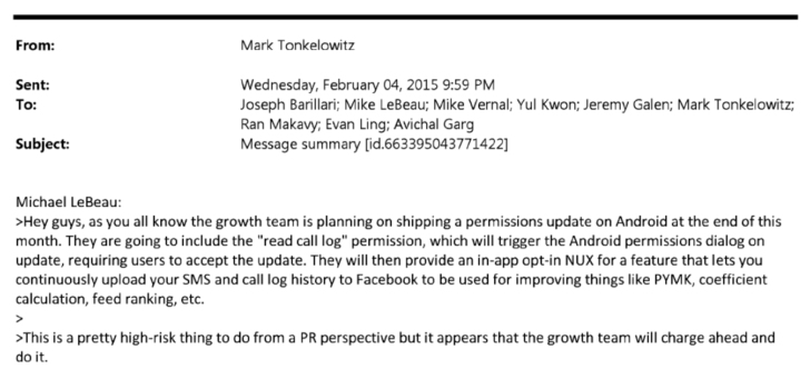 Facbook's Internal Emails Suggest Calls & Text Data Was Collected Without Consent