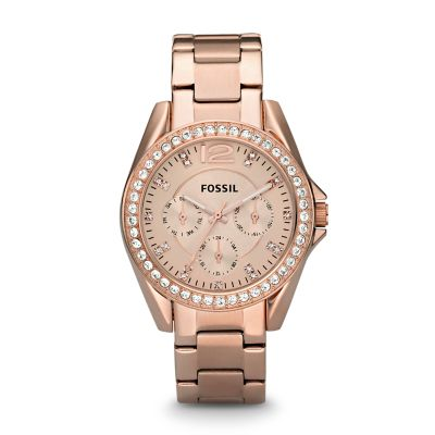 Fossil Riley Riley Multifunction Rose Tone Stainless Steel Watch