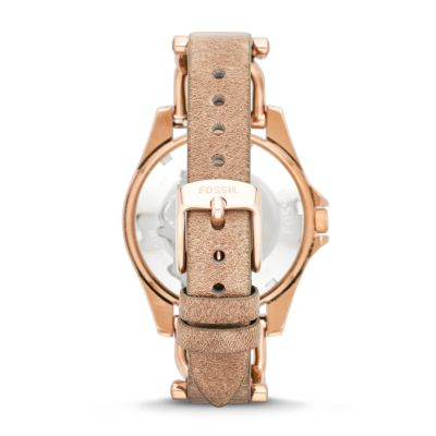Fossil Riley Riley Multifunction Rose Tone Sand Leather Watch