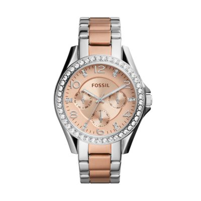 Fossil Riley Riley Multifunction Two Tone Stainless Steel Watch
