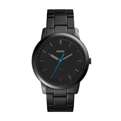 Steel Watch The Minimalist Slim Three Hand Black Stainless Steel Watch
