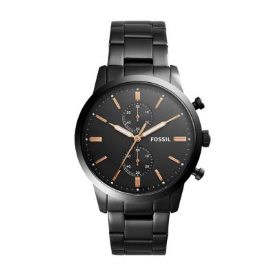 Steel Watch Townsman 44mm Chronograph Black Stainless Steel Watch