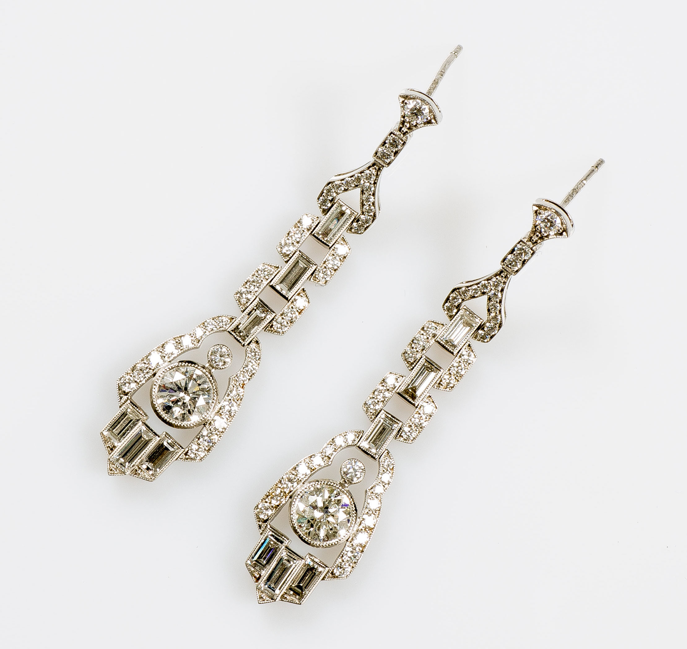 Art Deco Style Earrings Uk Pair Of Platinum Art Deco Style Earrings