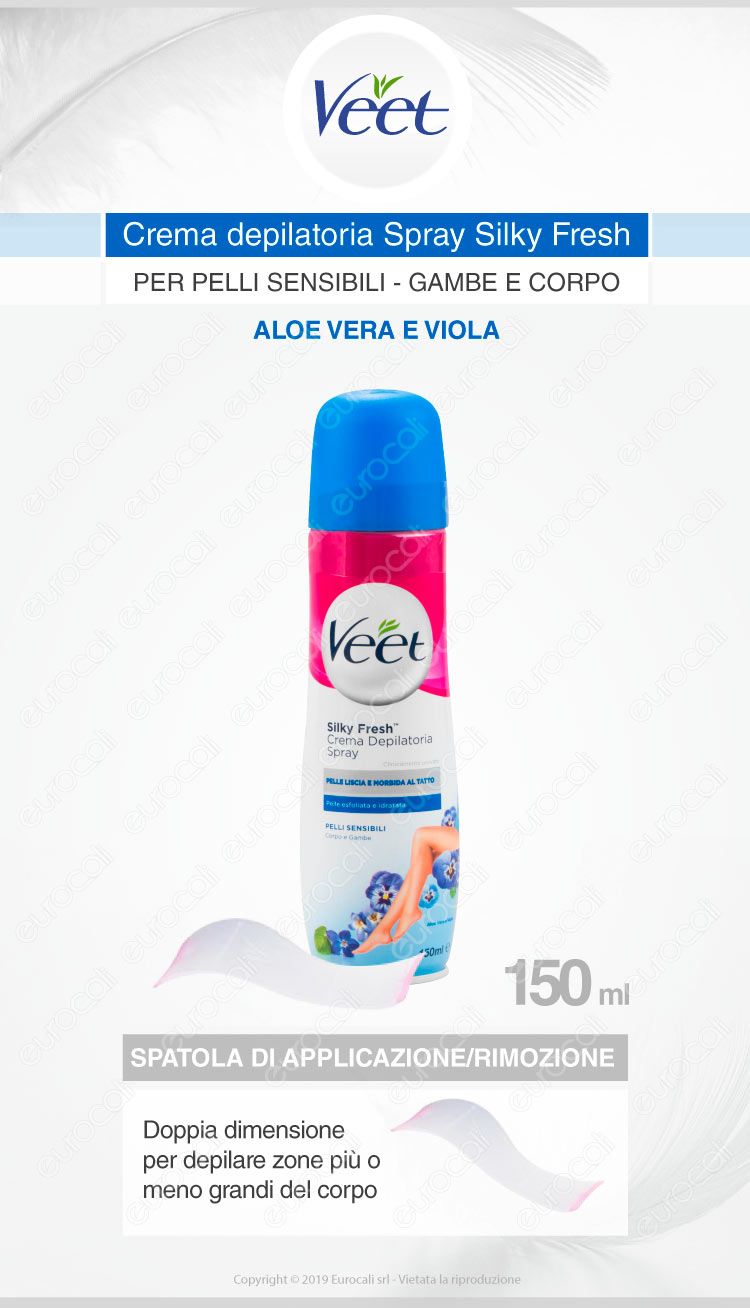 Veet Sotto La Doccia Crema Depilatoria Spray Silk Fresh Pelli Sensibili Veet Da 150ml