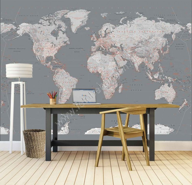 Behang Kinderkamer Dieren Fotobehang Silver World Map Groot - Wereldkaarten
