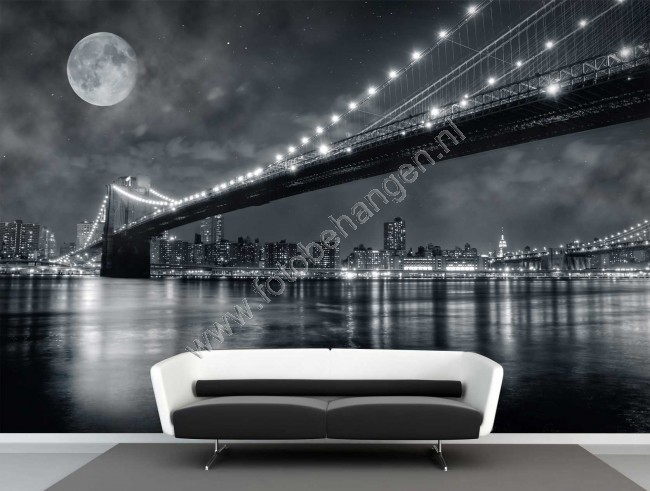 Muurposters Slaapkamer Vlies Fotobehang Full Moon Brooklyn Bridge | Fotobehangen.nl