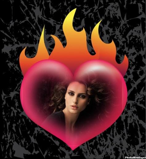Fotoefectos de corazones en llamas.