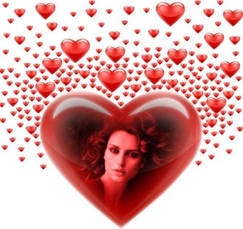 Fotoefectos con corazones rojos.