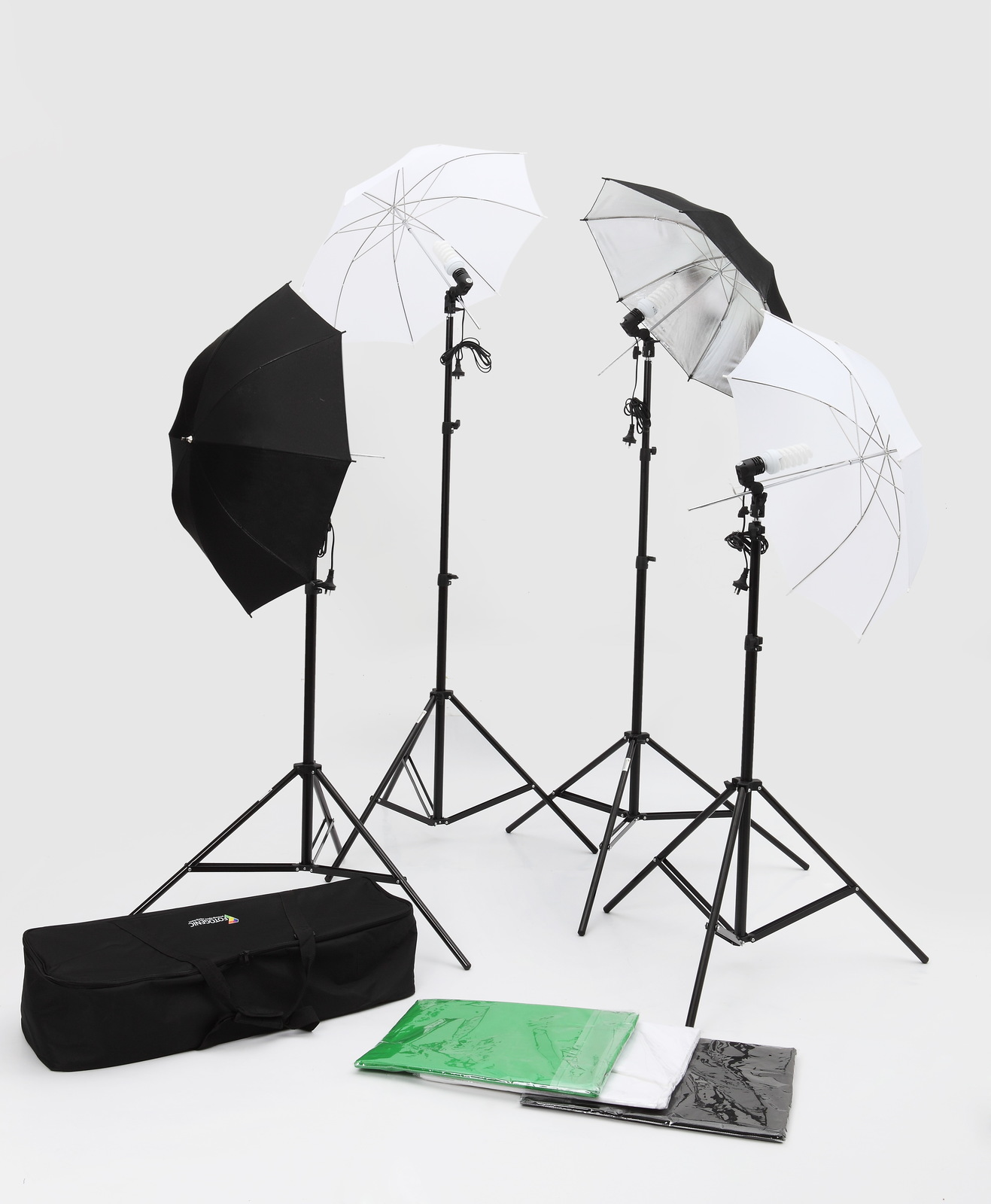 2m X 3m 4 Piece Umbrella Lighting Kit Includes 2m X 3m Muslin And