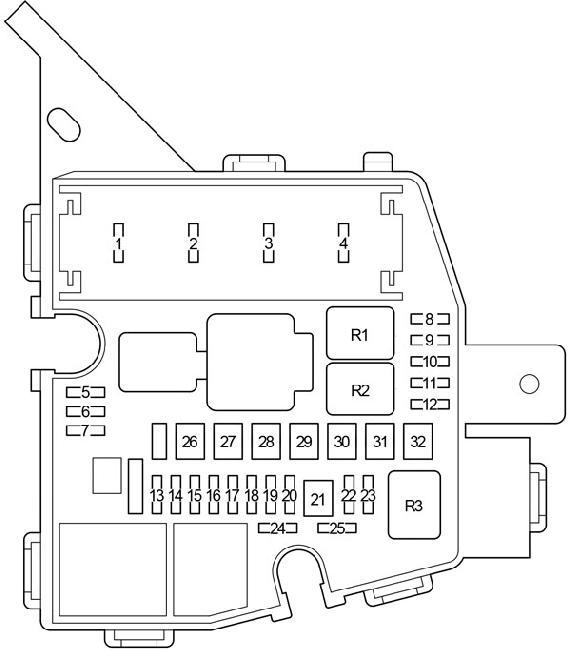 2005-2012 Toyota Yaris (90) Fuse Box Diagram » Fuse Diagram