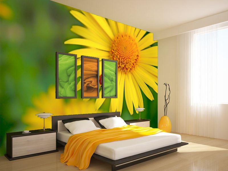 Fotomural decorativo para dormitorio flores amarillas for Fotomurales decorativos