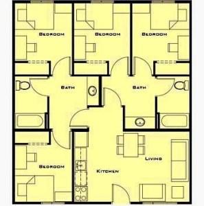 denah rumah minimalis 2 lantai 4 kamar