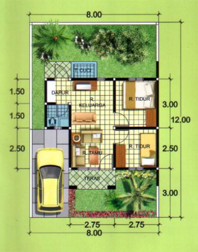 gambar denah rumah type 36 2