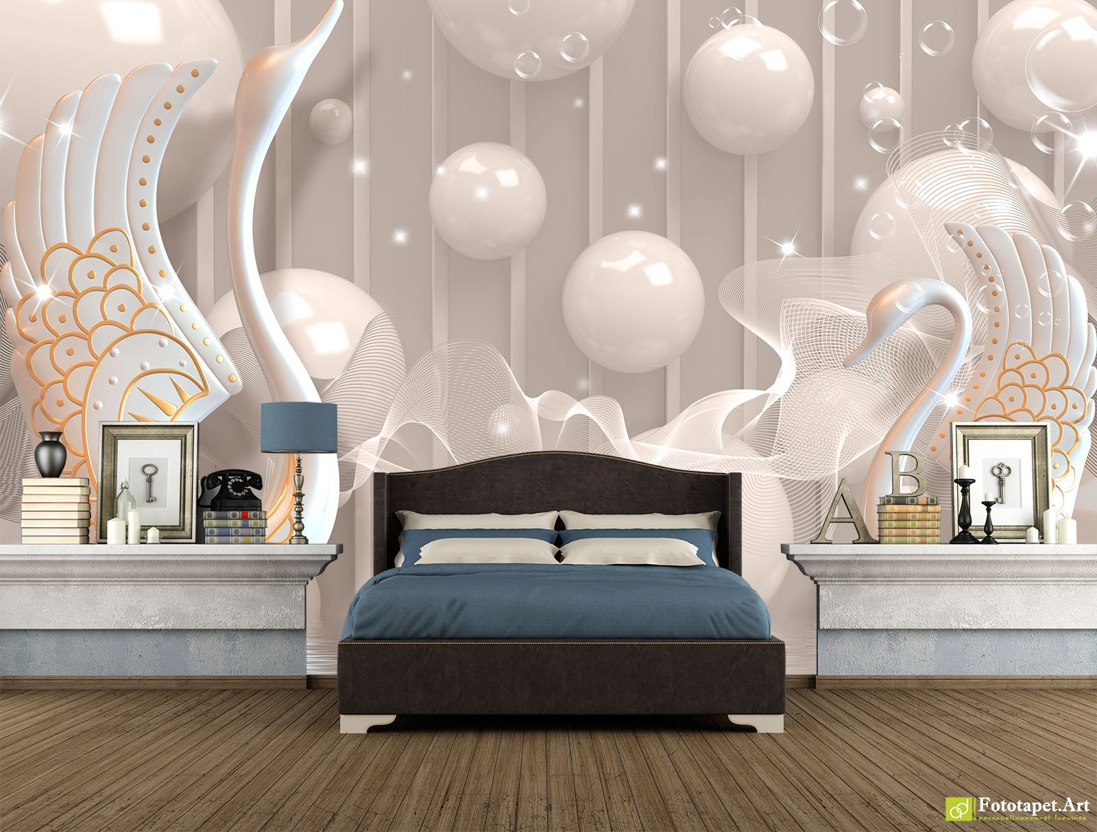 Fototapete 3d Preturi Photo Wallpaper 3d Effect Swans And Balls Fototapet Art