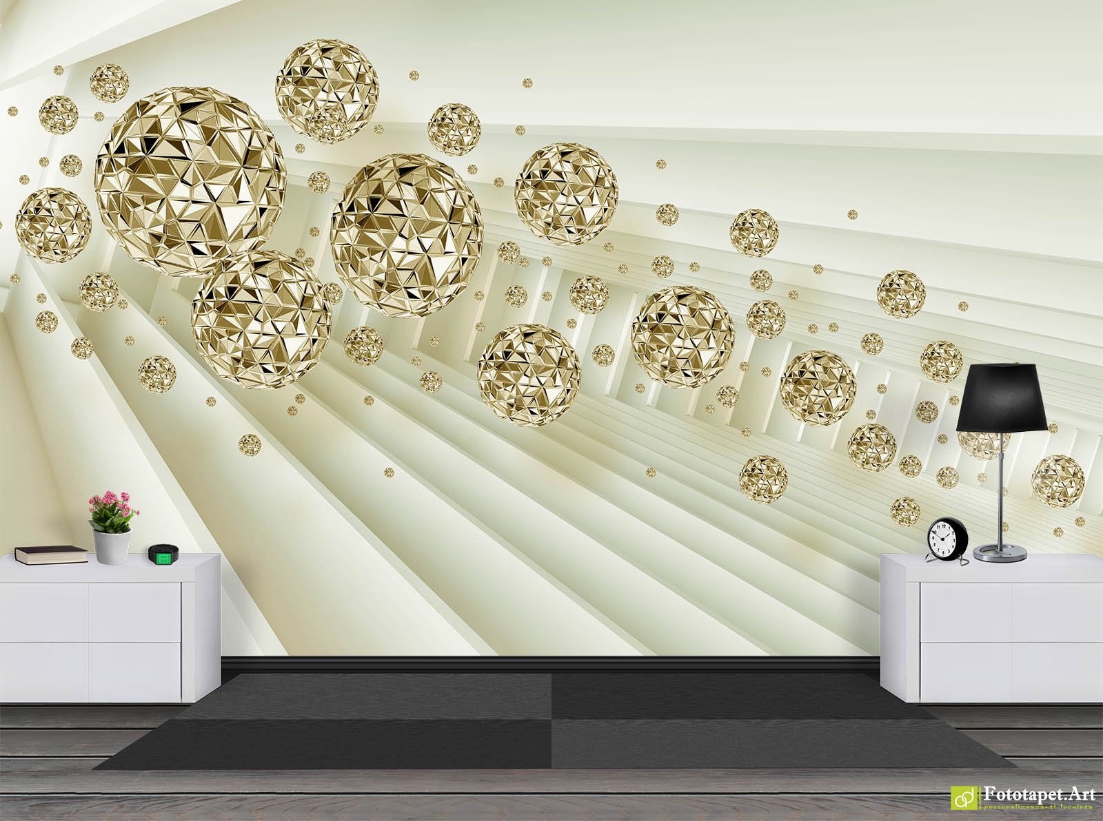 Fototapete 3d Preturi Photo Wallpaper 3d Effect Tunnel And Gold Balls