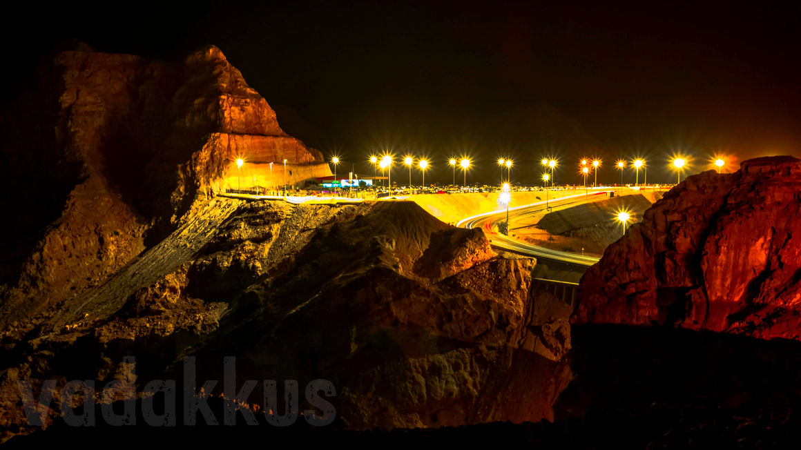 At the Top of the Jebel Hafeet Mountain, Al Ain, UAE by Night