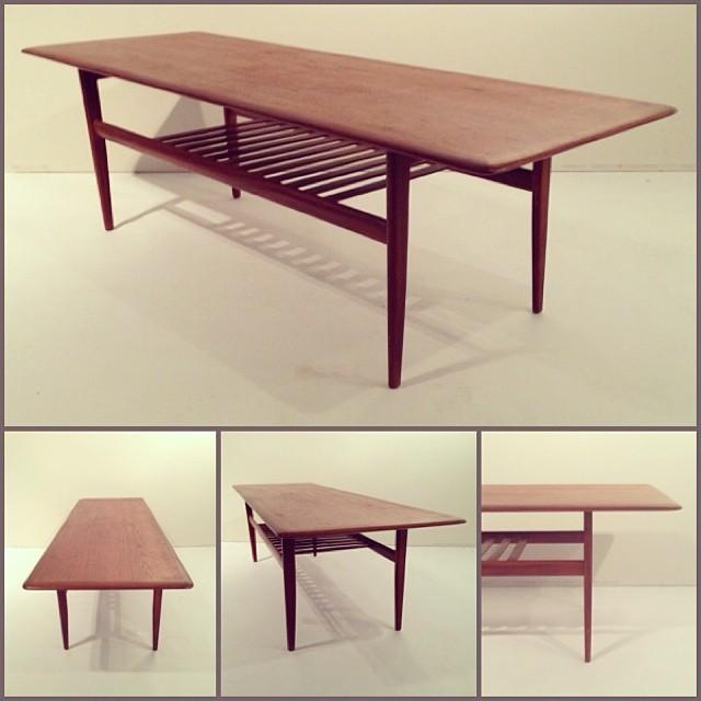 Founddesign Teak Coffee Table W Slat Shelf