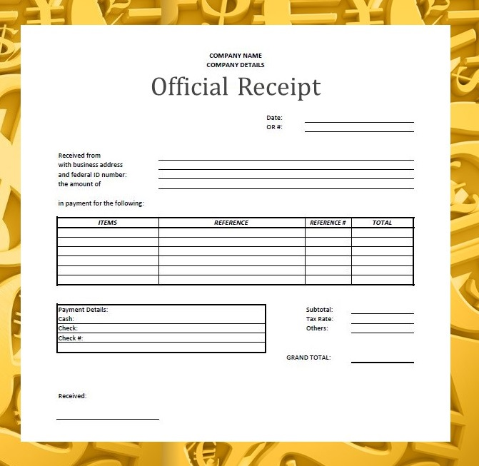 official receipt sle format - 28 images - official receipt template
