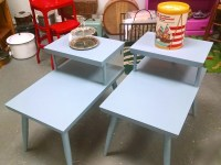 FOUND in ITHACA  Two Mid-Century Painted End Tables