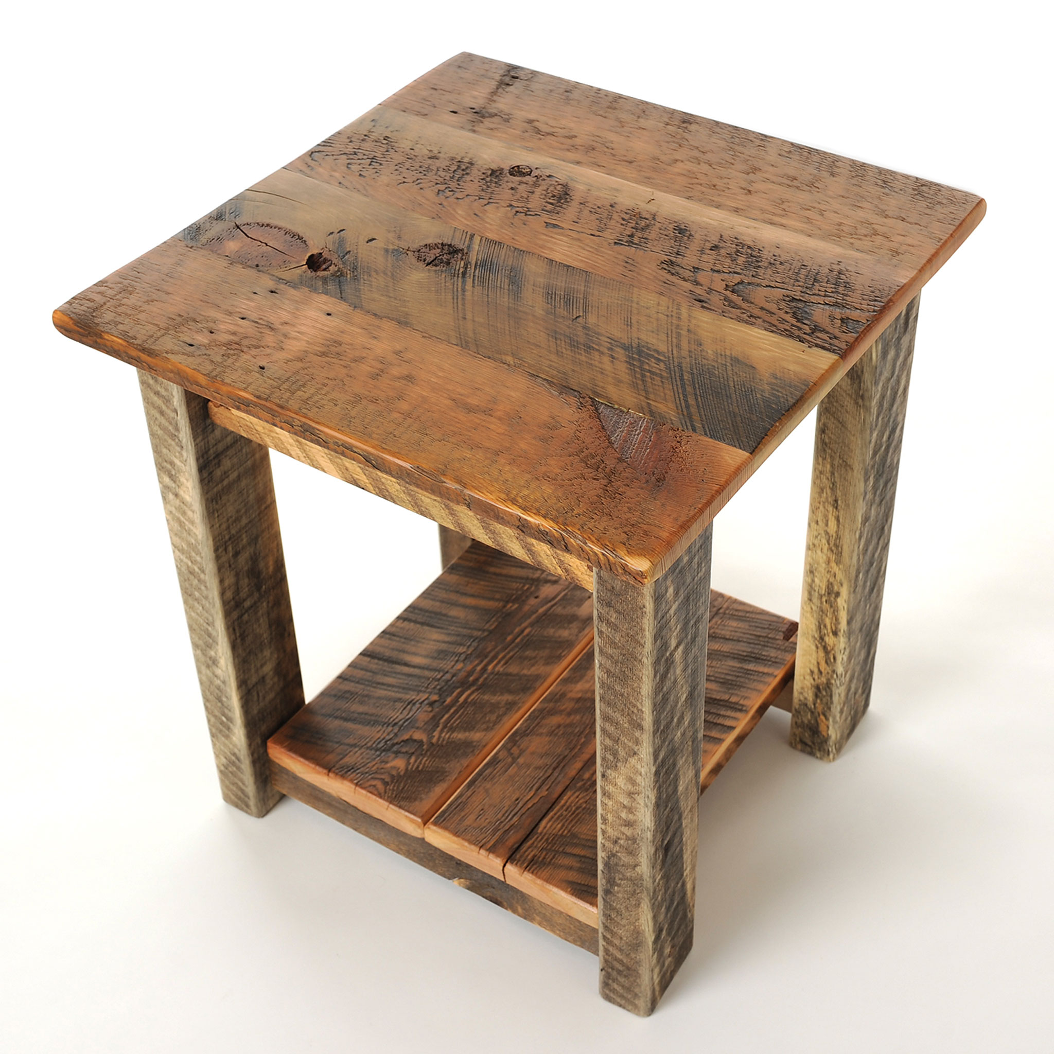 Wooden End Table Reclaimed Wood End Table Four Corner Furniture Bozeman Mt