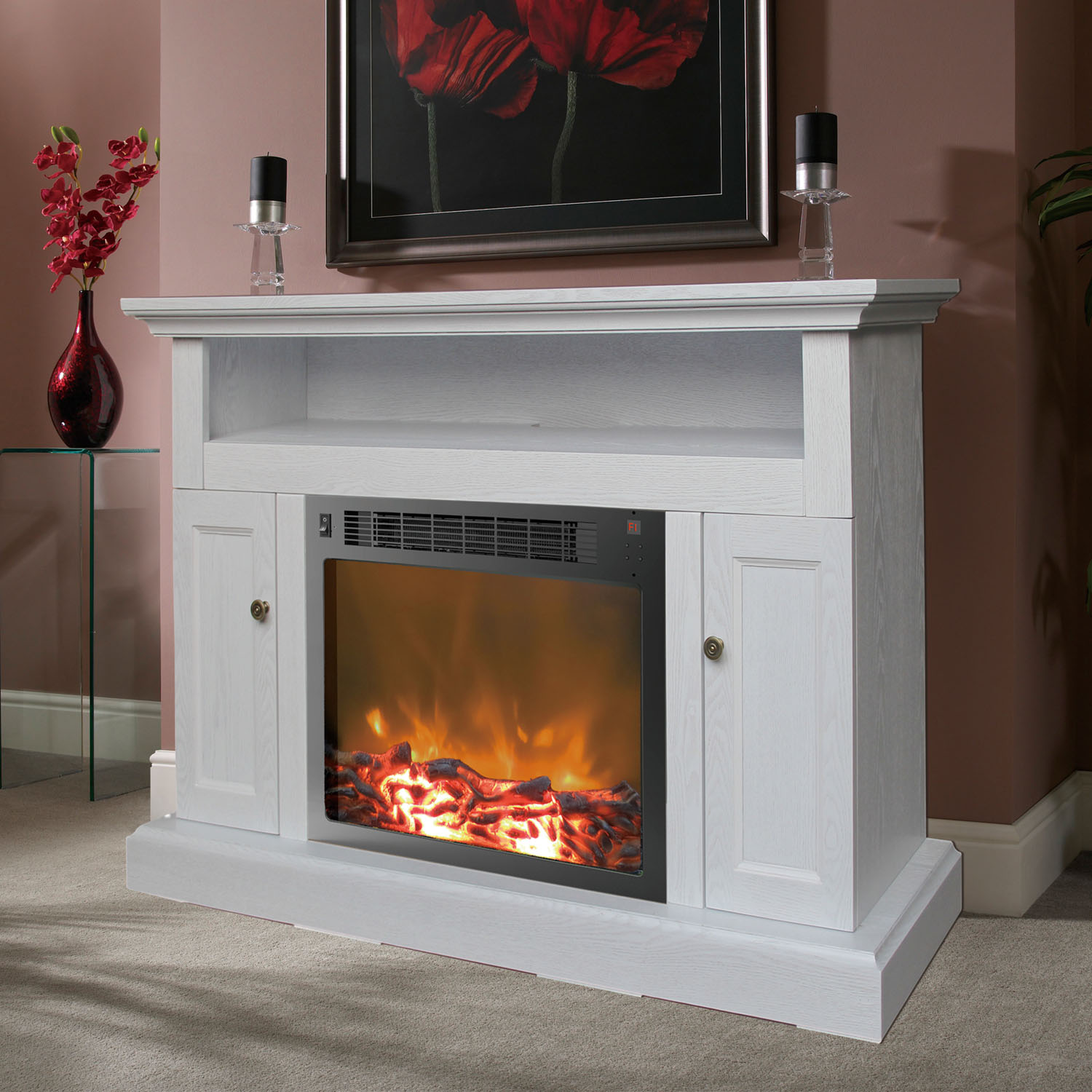Fireplace Mantel White Sorrento Fireplace Mantel With Electronic Fireplace Insert