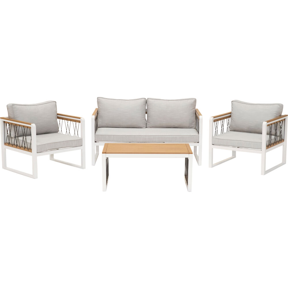 Mod Furniture Hampton 4 Piece Modern Outdoor Furniture Chat Set With All Weather Aluminum Frames Rope And Faux Wood Accents Grey Cushions