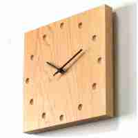 Square Wooden Wall Clock in Maple from Japan