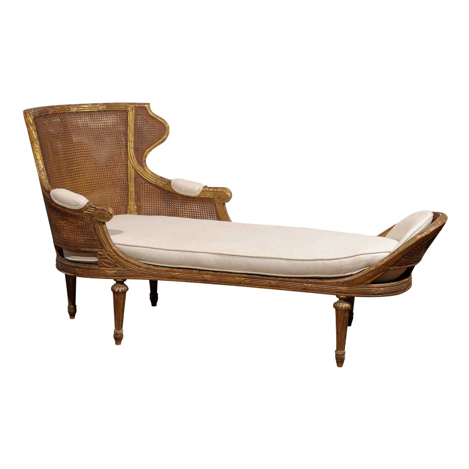 Chaise Style 19th Century French Louis Xvi Style Gilt Wood Double Cane Chaise Lounge