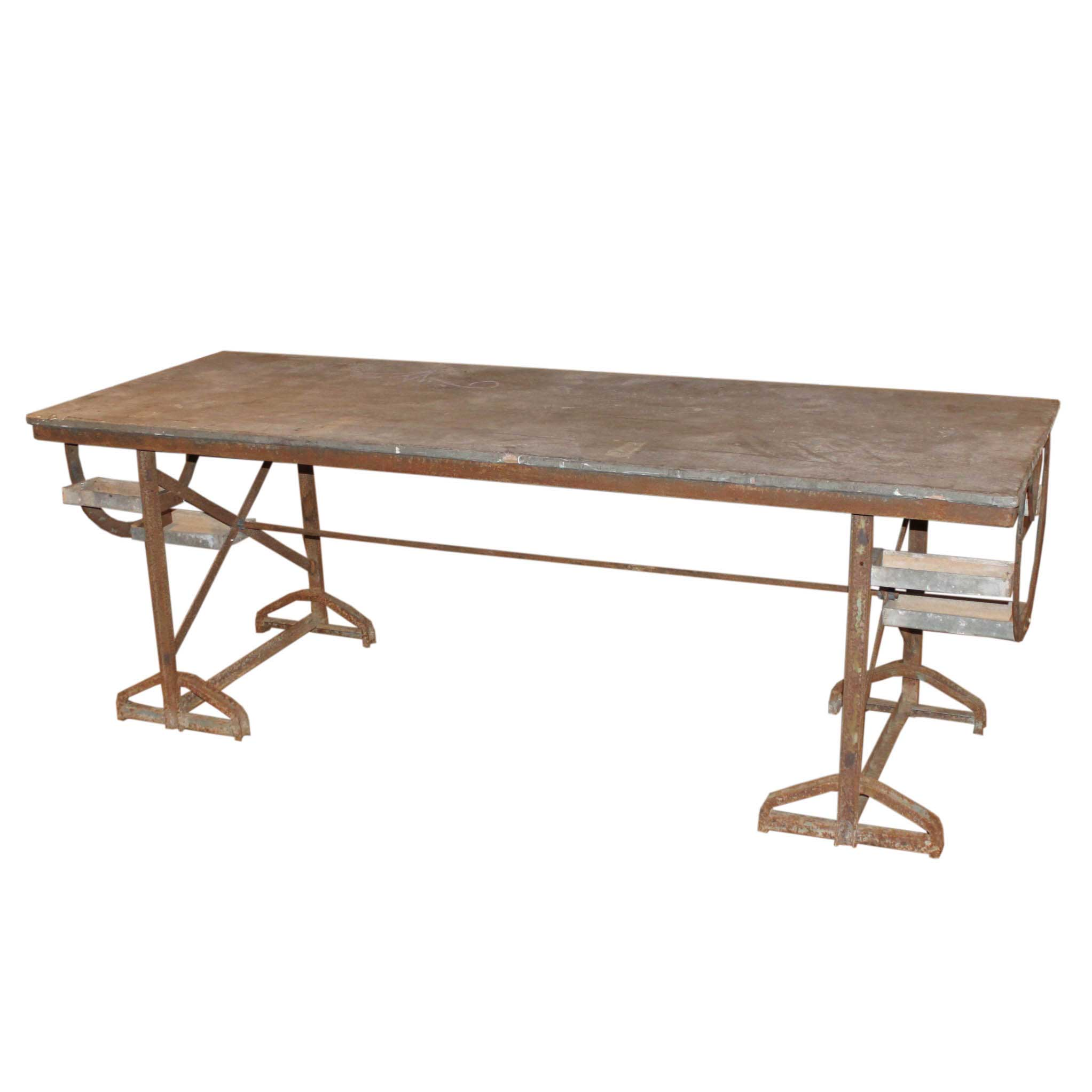 Industrial Work Table 25x40 French Industrial Work Table In Metal And Zinc Foxglove