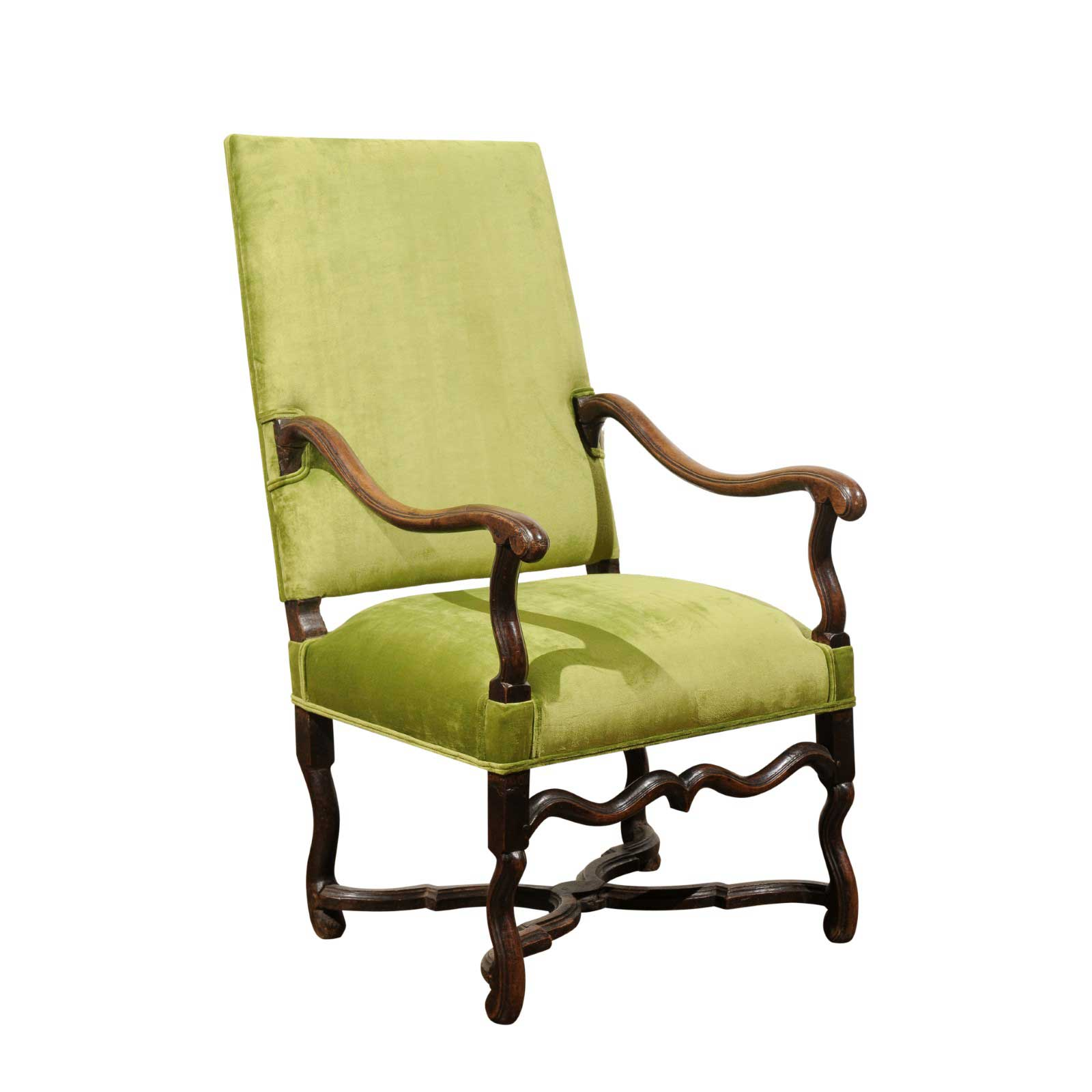 Fauteuils Louis 13 French Louis Xiii Style Green Upholstered Carved Fauteuil à La Reine C 1820