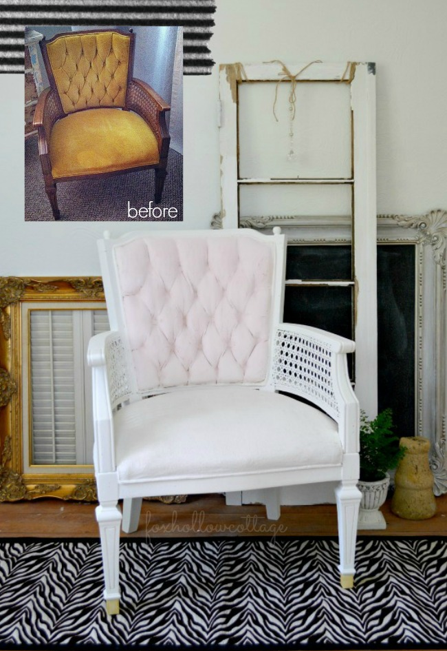 Velvet Upholstery Painted Chair Makeover - Fox Hollow Cottage