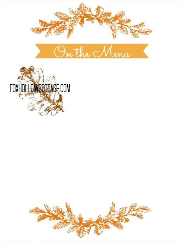 Thanksgiving Free Printable Series - Menu Board - Fox Hollow Cottage