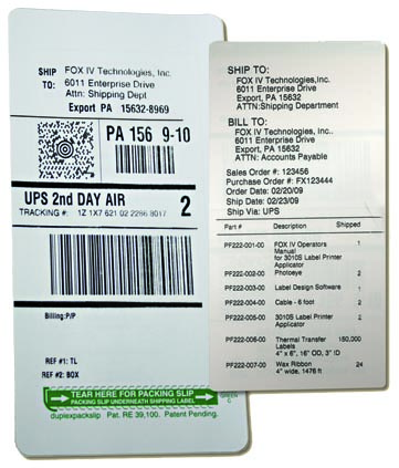 Buy TwinPrint™ two sided label Packing Slip/Shipping Label System