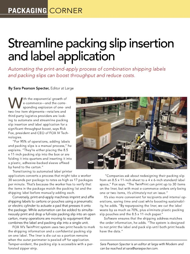 Streamline Packing Slip Insertion  Label ApplicationFOX IV - packing slips for shipping