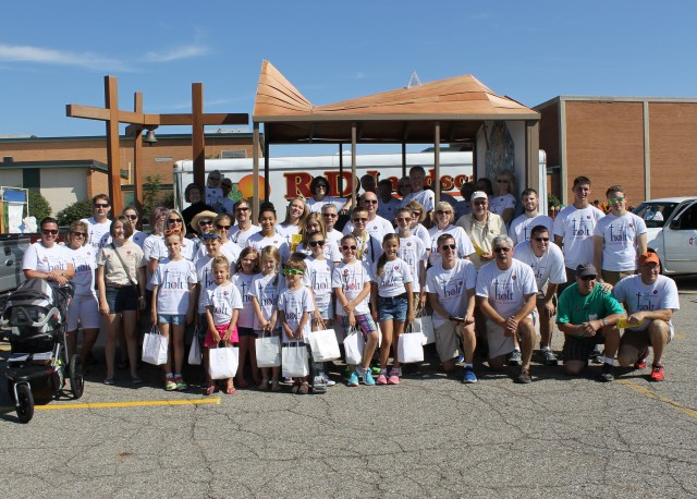 Members of our church family gathered at the Holt Hometown Days Parade with our float constructed by Ken Hoffman and Shari Horwath