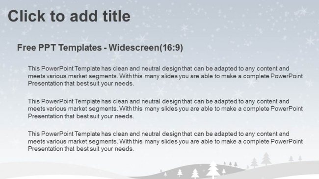 Merry Christmas with snowy winter PPT Templates - winter powerpoint template