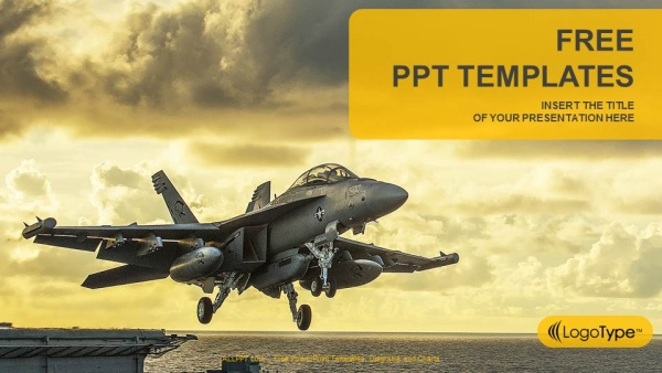 Jet Fighter Taking Off From aircraft carrier PowerPoint Templates