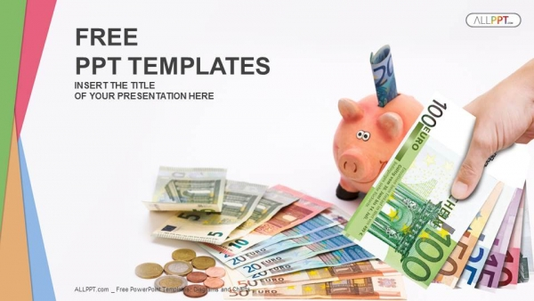 Piggy Bank with money-Finance PowerPoint Templates - money background for powerpoint
