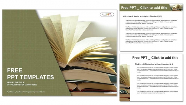 Composition with vintage old hardback books PowerPoint Templates - powerpoint books