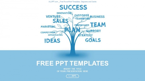 Concept blue word tree leadership marketing or business PowerPoint