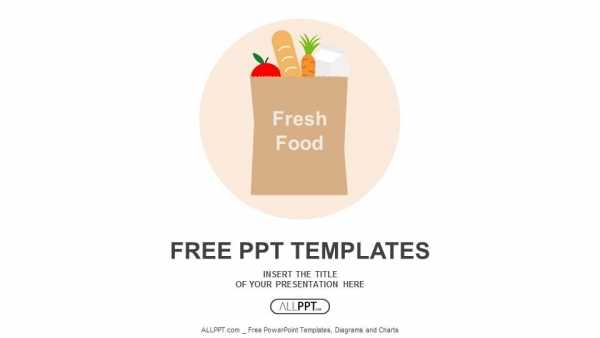 Paper bag with fresh food PowerPoint Templates