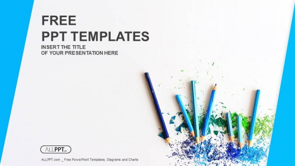 Colour pencils with sharpening shavings PowerPoint Templates