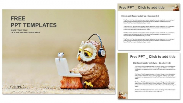 Owl reads the information on the laptop PowerPoint Template