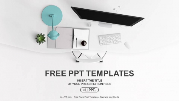 Top view of office supplies on table PowerPoint Templates - free powerpoint design templates