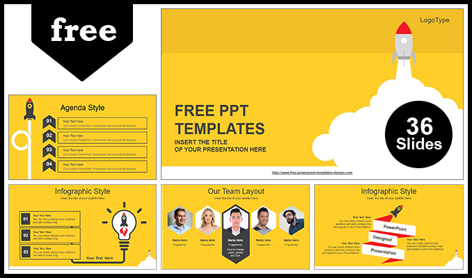 Rocket Launched PowerPoint Template - template