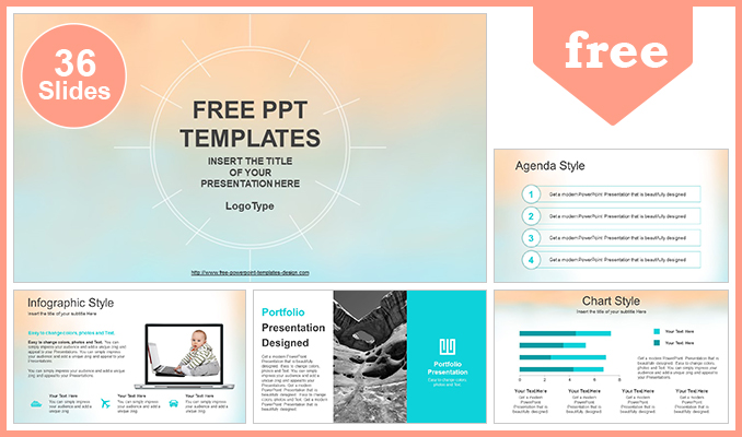 Pastel Watercolor Painted PowerPoint Template - templates