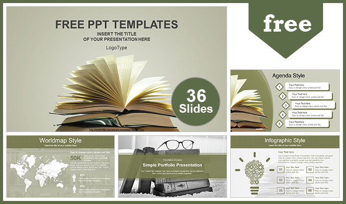 Vintage Old Books PowerPoint Template - powerpoint books