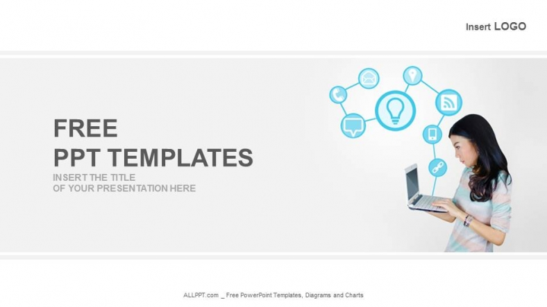 Laptop With Technology Icons-Business PowerPoint Templates