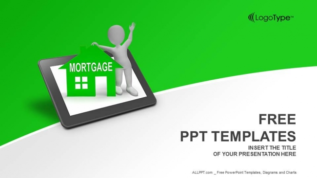 Mortgage House Tablet PowerPoint Templates